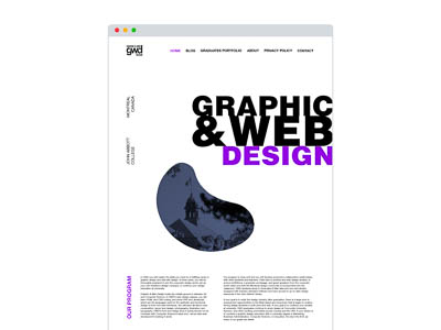 Mockup of the Home page of the Graphic & Web Design Program